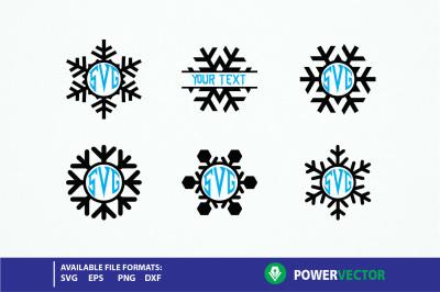 Snowflake svg. Snowflakes monogram svg, dxf, eps. Monogram frames