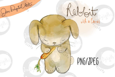 Cute Rabbit with a Carrot | PNG/JPEG clip art illustration
