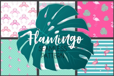 Cute Seamless Flamingo Pattern Background Collection Set. Vector