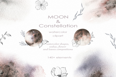 Watercolor Moon & Constellation