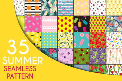 35 Cute Summer Seamless Pattern Background Collection Set. Vector