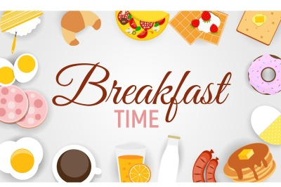 Breakfast Icon Set Background in Modern Flat Style. Vector