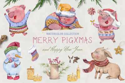Merry pigsmas. Watercolor collection