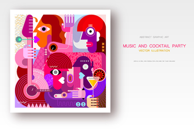 Concert and Cocktail Party vector illustration