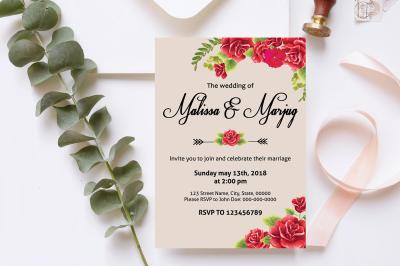 Red Flower Wedding Invitation Template