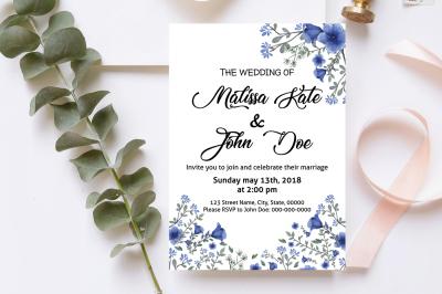 Violet Flower Wedding Invitation Template