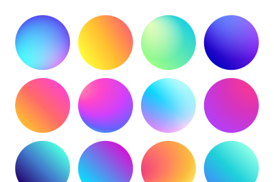 Rounded holographic gradient sphere button. Multicolor fluid circle gr