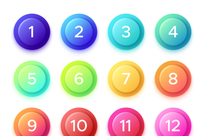 Pointing number on gradient bullet button icon. Colorful 3D circle but