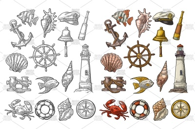Set sea adventure. Engraving