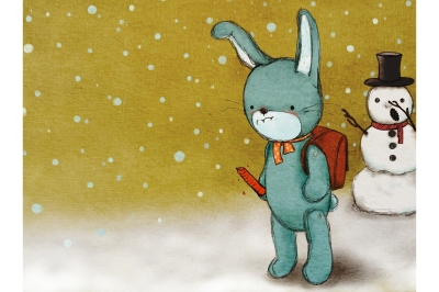 Cartoon Rabbit in the Snow | Comic Illustration