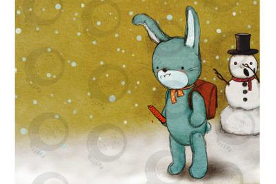 Cartoon Rabbit in the Snow | Comic Illustration
