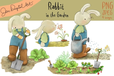 Rabbit in the Garden | Clip art illustration | JPEG/PNG