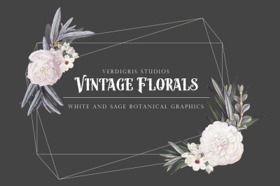 Vintage Floral Graphics - White and Sage