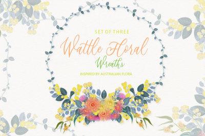 Eucalyptus & Wattle Floral Wreaths Illustrations