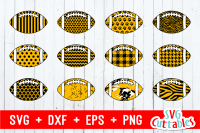 Patterned Football set of 12 | Cut Files