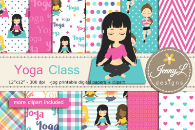 Yoga Digital Papers & Girls Clipart