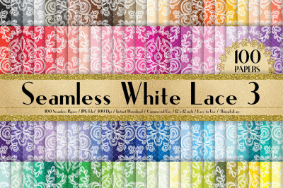 100 Seamless White Damask Lace Flower Digital Papers