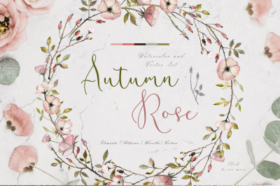 Autumn Roses Watercolor Set