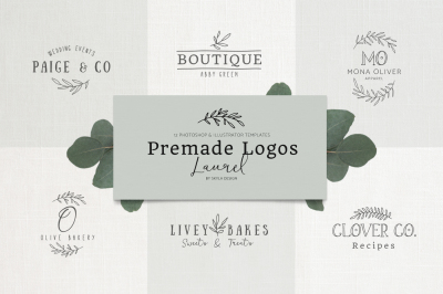 Premade Logo bundle laurel feminine templates
