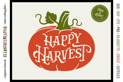 HAPPY HARVEST - Vintage Rustic Pumpkin in SVG DXF EPS PNG