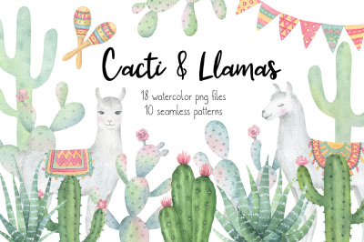 Cactus and Llama watercolor clipart and patterns