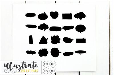Speech Bubbles SVG Cut File - Clipart, DXF, PNG