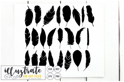 Feathers SVG Cut File - Clipart, DXF, PNG