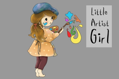 Little Artist Girl | Clip art illustration | JPEG/PNG
