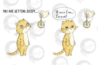 Comic Strip Design - Cat Hypnosis   PNG/JPEG illustration
