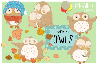 Cutie Pie Owls | Clip art illustrations PNG/JPEG | 5 images