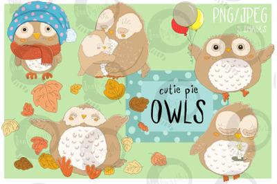 Cutie Pie Owls | Clip art illustrations PNG/JPEG | 5 images