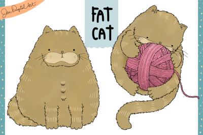 Fat Cat | Clip art illustration | PNG/JPEG