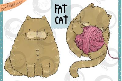 Fat Cat   Clip art illustration   PNG/JPEG