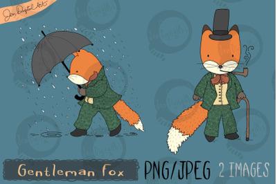 Gentleman Fox   Clip art illustration   PNG/JPEG