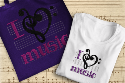 I Love Music | Embroidery