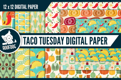 Taco and tequila themed digital paper
