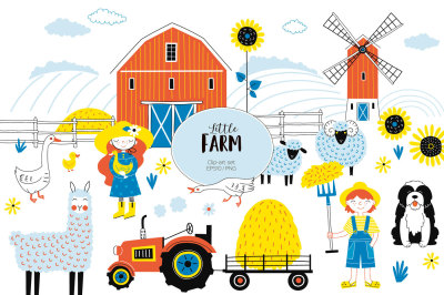 Little Farm clip-art kit