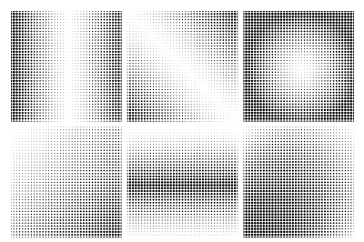 1725d756506d Save · Halftone dots black and white backgrounds vector set