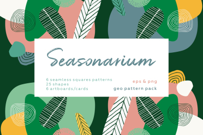 Seasonarium. Autumn abstract patterns set