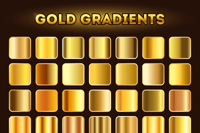 Gold gradients vector set