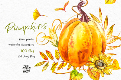 Pumpkins. Watercolor collection