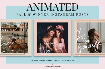 Holiday ANIMATED Instagram Posts - Fall & Winter Instagram Templates