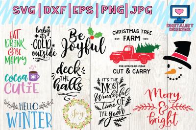 christmas bundle svg, dxf, png, jpg, eps