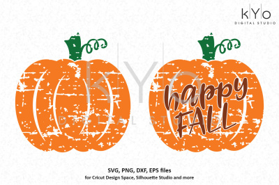 Distressed Pumpkin Happy Fall SVG DXF PNG EPS files