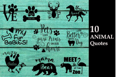 Animal quotes svg cutting files