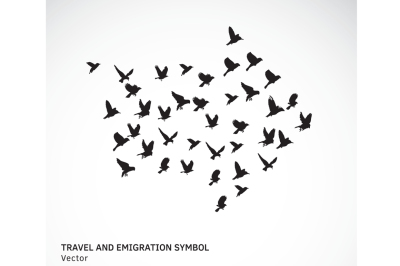 Travel and emigration birds symbol