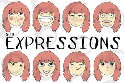 Girl Expressions | 8 images | PNG clip art