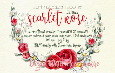 Scarlet Rose Watercolor Floral Elements