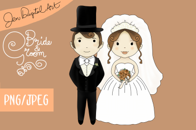 Bride And Groom Wedding | Clip art illustration | PNG/JPEG