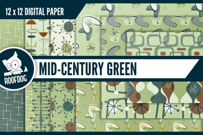 Mid century modern green atomic digital paper